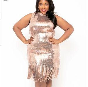 [Curvy Sense] Rose Gold Sequin Flapper Dress